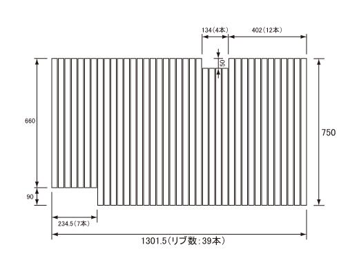 パナソニック Panasonic(松下電工 ナショナル) 風呂ふた(ふろふた フロフタ) 巻きふた GA141JMLC (GA141JMLの代替品) 750×1301.5mm (リブ数:39本)