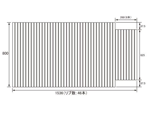 パナソニック Panasonic(松下電工 ナショナル) 風呂ふた(ふろふた フロフタ) 巻きふた GA1607C 800×1536mm (リブ数:46本)