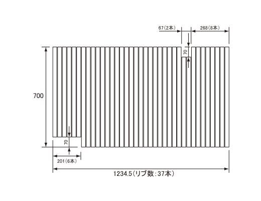 パナソニック Panasonic(松下電工 ナショナル) 風呂ふた(ふろふた フロフタ) 巻きふた GD60415 700×1234.5mm (リブ数:37本)