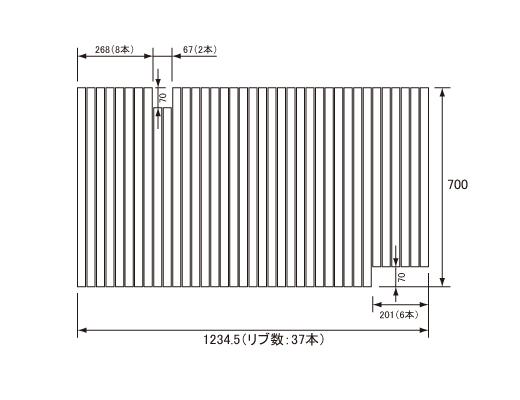 パナソニック Panasonic(松下電工 ナショナル) 風呂ふた(ふろふた フロフタ) 巻きふた GD60416 700×1234.5mm (リブ数:37本)