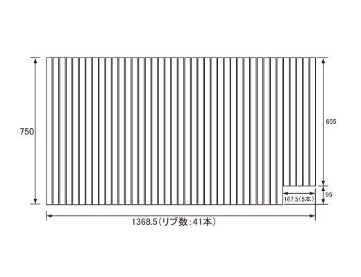 パナソニック Panasonic(松下電工 ナショナル) 風呂ふた(ふろふた フロフタ) 巻きふた GD60471N 750×1368.5mm (リブ数:41本)