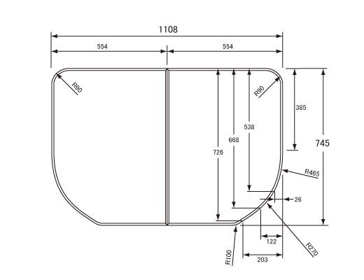 パナソニック Panasonic(松下電工 ナショナル) 風呂ふた(ふろふた フロフタ) 組みふた GKU71KN1KK 745×1108mm