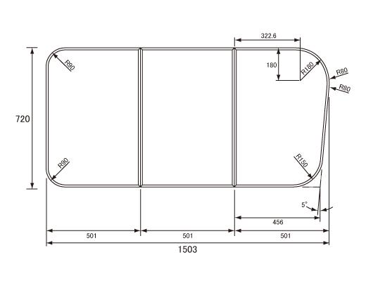 パナソニック Panasonic(松下電工 ナショナル) 風呂ふた(ふろふた フロフタ) 組みふた GKU74KF8NK 720×1503mm
