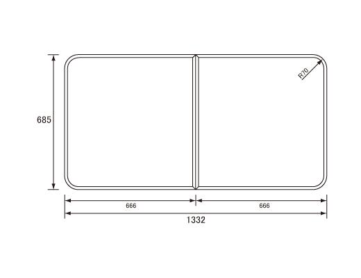 パナソニック Panasonic(松下電工 ナショナル) 風呂ふた(ふろふた フロフタ) 組みふた RL1400C (RL1400DHの代替品) 685×1332mm