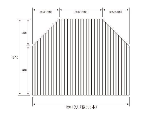 パナソニック Panasonic(松下電工 ナショナル) 風呂ふた(ふろふた フロフタ) 巻きふた RL91001C (RL91001の代替品) 945×1201mm (リブ数:36本)