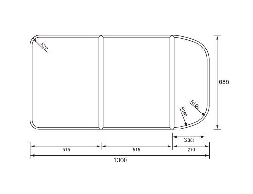 パナソニック Panasonic(松下電工 ナショナル) 風呂ふた(ふろふた フロフタ) 組みふた RL91052S 685×1300mm