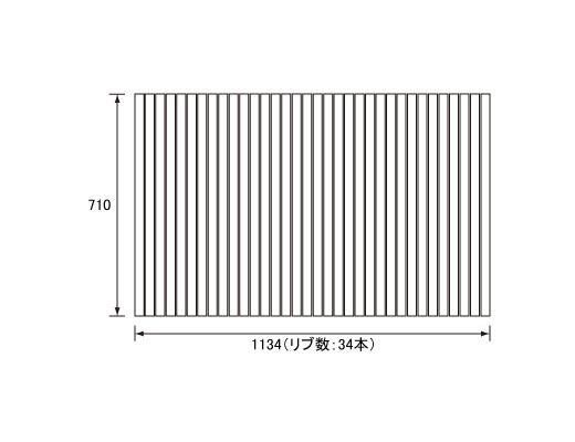 パナソニック Panasonic(松下電工 ナショナル) 風呂ふた(ふろふた フロフタ) 巻きふた RLEX71MF1K1C 710×1134mm (リブ数:34本)