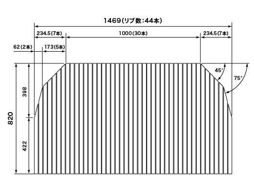 パナソニック Panasonic(松下電工 ナショナル) 風呂ふた(ふろふた フロフタ) 巻きふた RLU74MN7T1C 820×1469mm (リブ数:44本) (RLU74MN7T1の後継品)