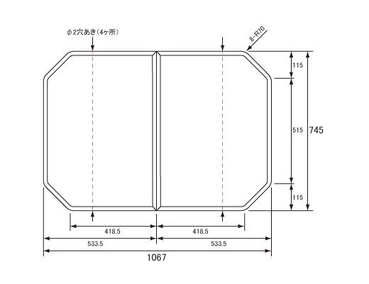 パナソニック Panasonic(松下電工 ナショナル) 風呂ふた(ふろふた フロフタ) 組みふた RSS73KN1S 745×1067mm