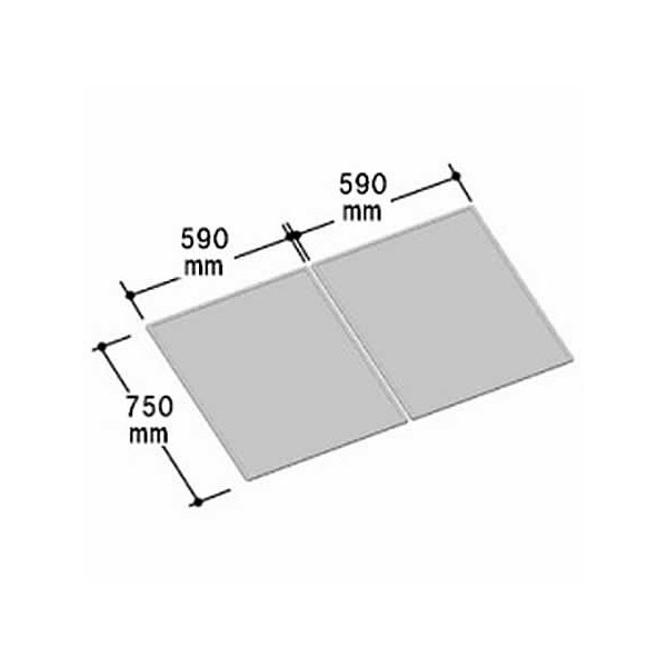 LIXIL INAX 風呂組フタ 幅590×奥行750mm×2枚組:YFK-1280B(2) (風呂ふた、フロふた、風呂蓋)