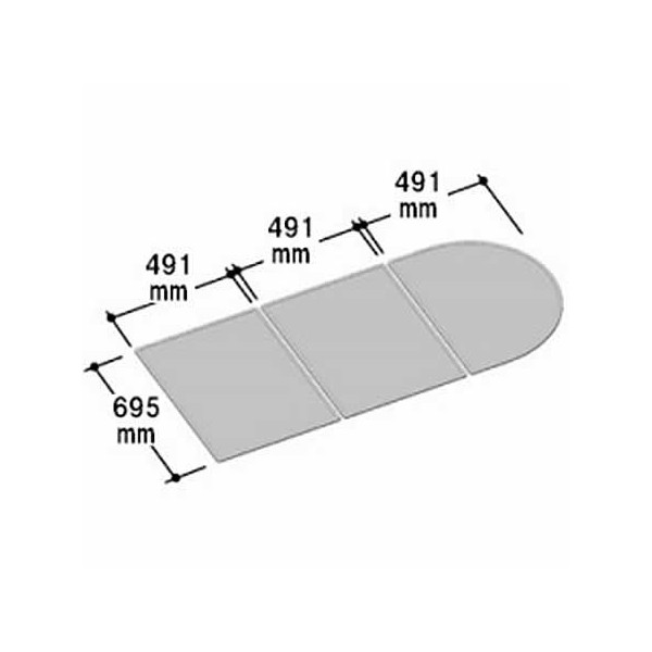 LIXIL INAX 風呂組フタ 幅491×奥行695mm×3枚組:YFK-1573C(2) (風呂ふた、フロふた、風呂蓋)