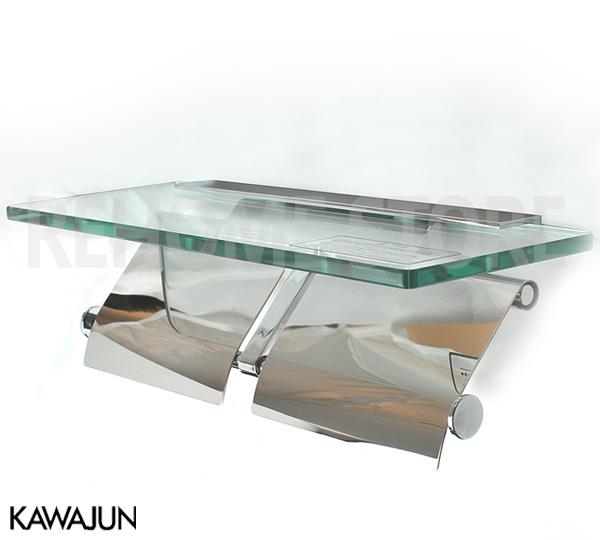 KAWAJUN カワジュン ペーパーホルダー(紙巻器) ガラス棚付ダブルペーパーホルダー SC-27M-XC