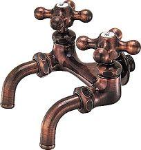 カクダイ カラー双口ホーム水栓//ブロンズ 7050FBP-13