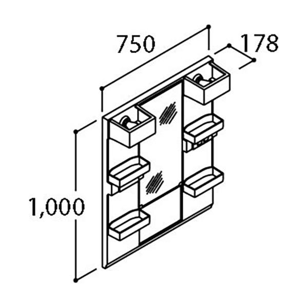 LIXIL 間口750mm 洗面化粧台 PVシリーズ ミラーキャビネット(1面鏡)くもり止めコート付