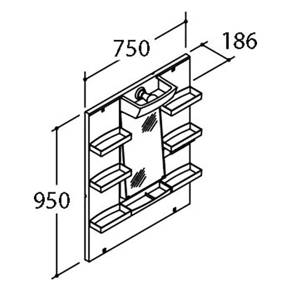 LIXIL 間口750mm PVシリーズ ミラーキャビネット(1面鏡) 洗面化粧台