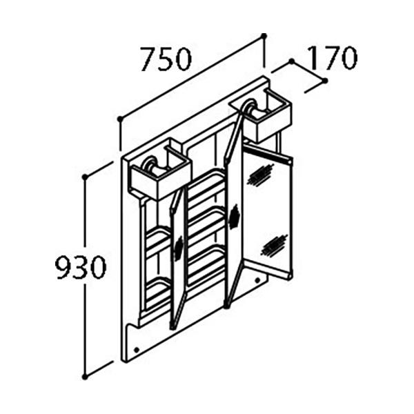LIXIL PVシリーズ 間口750mm ミラーキャビネット(3面鏡全収納)くもり止めコート付 洗面化粧台