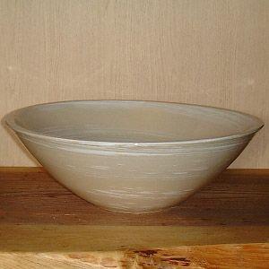 洗面ボウル 信楽焼 (和風 陶器製) 白刷毛目 そり型 (手洗い鉢/洗面鉢/洗面ボール) 大サイズ40cm