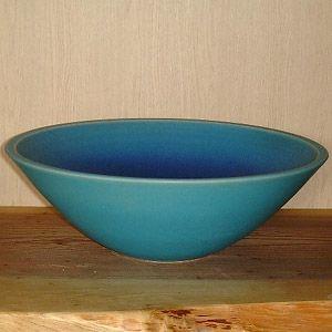 洗面ボウル 信楽焼 (和風 陶器製) トルコ青 そり型 (手洗い鉢/洗面鉢/洗面ボール) 小サイズ26cm