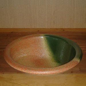 洗面ボウル 信楽焼 (和風 陶器製) 火色 埋め込み型 (手洗い鉢/洗面鉢/洗面ボール) 中サイズ36~39cm