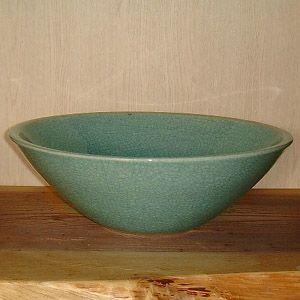 洗面ボウル 信楽焼 (和風 陶器製) 青貫入 そり型 (手洗い鉢/洗面鉢/洗面ボール) 中サイズ30cm