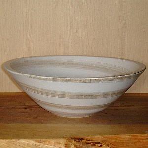 洗面ボウル 信楽焼 (和風 陶器製) 白茶刷毛目 そり型 (手洗い鉢/洗面鉢/洗面ボール) 中サイズ30cm