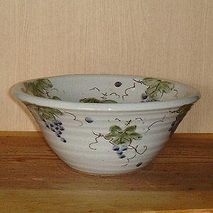 洗面ボウル 信楽焼 (和風 陶器製) ぶどう絵 そり型(絵付け) (手洗い鉢/洗面鉢/洗面ボール) 小サイズ30cm