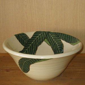 洗面ボウル 信楽焼 (和風 陶器製) バナナリーフ そり型(絵付け) (手洗い鉢/洗面鉢/洗面ボール) 小サイズ30cm