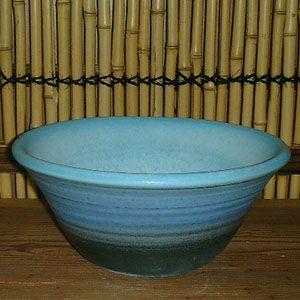 洗面ボウル 信楽焼 (和風 陶器製) ブルー窯変 ろくろ目 (手洗い鉢/洗面鉢/洗面ボール)