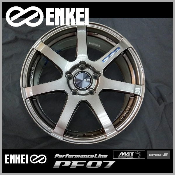 送料無料ENKEI エンケイ パフォーマンスラインPF07 ダークシルバー19インチ 8.0J +45 5穴 PCD114.3国産ホイール 4本セット