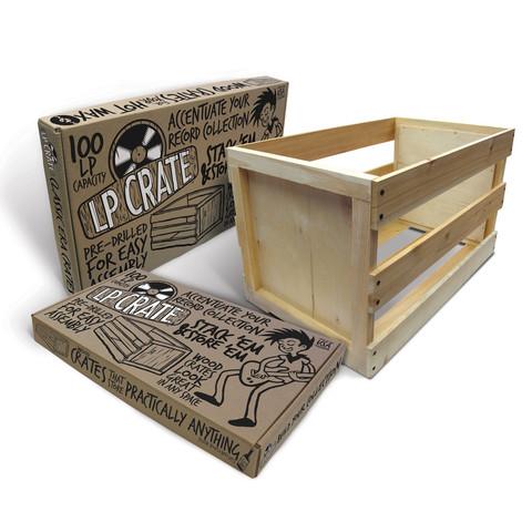 新入荷続々 Crate Farm 木製 お金を節約 LPレコード100枚収納ボックス ディスカウント