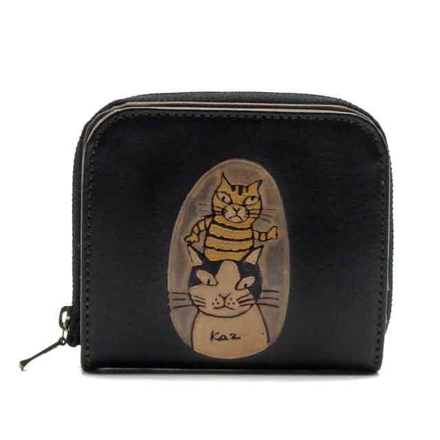 手染め 二つ折り財布 茶トラとハチワレ(ブラック) Craft ema クラフトエマ 猫グッズ 猫雑貨 猫 革財布