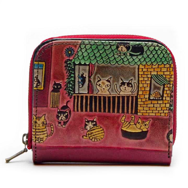 猫 革財布 手染め 二つ折り財布 猫社会(レッド) Craft ema クラフトエマ 猫グッズ 猫雑貨 革 財布