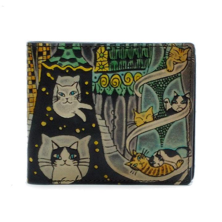猫 革財布 手染め 二つ折り財布 薄型タイプ 猫とビル(ブラック) Craft ema クラフトエマ 猫グッズ 猫雑貨 革 財布