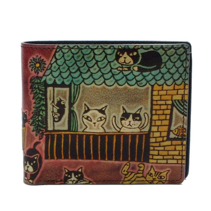 猫 革財布 手染め 二つ折り財布 薄型タイプ 猫社会(レッド) Craft ema クラフトエマ 猫グッズ 猫雑貨 革 財布