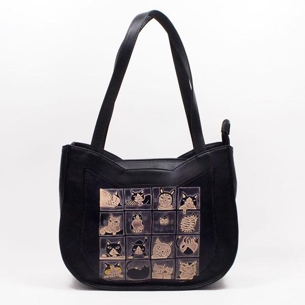 手染め猫型トートバッグ 猫16匹 Craft ema クラフトエマ 猫グッズ 猫雑貨 猫 ねこ ネコ 革 バッグ