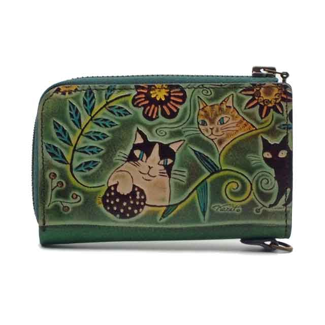 手染め 小銭&カード入れ 猫と花(グリーン) Craft ema クラフトエマ 猫グッズ 猫雑貨 革 財布