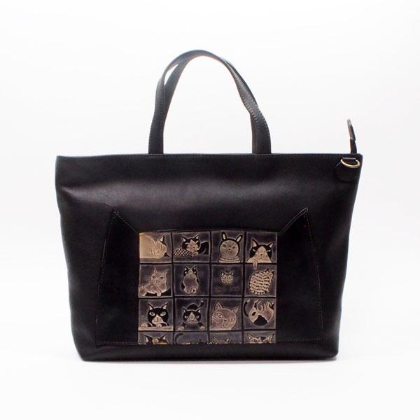 手染め2WAYトートバッグ&ショルダーバッグ(中)猫12匹|Craft ema クラフトエマ| 猫グッズ 猫雑貨 猫 ねこ ネコ|高級 革 バッグ|