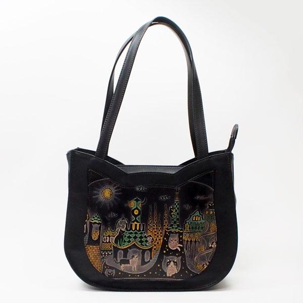 手染め猫型トートバッグ猫とビル|Craft ema クラフトエマ| 猫グッズ 猫雑貨 猫 ねこ ネコ|高級 革 バッグ|