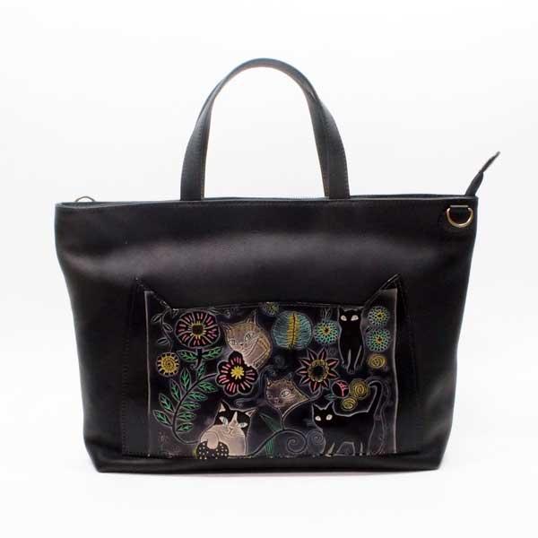 手染め2WAYトートバッグ&ショルダーバッグ(中)猫と花|Craft ema クラフトエマ| 猫グッズ 猫雑貨 猫 ねこ ネコ|高級 革 バッグ|