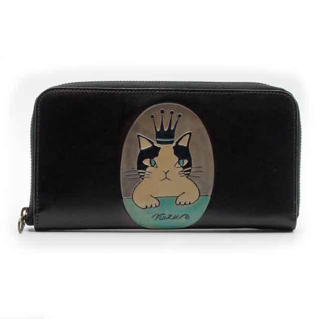 手染め ラウンドファスナー長財布 猫の王様 Craft ema クラフトエマ 猫グッズ 猫雑貨 革 財布