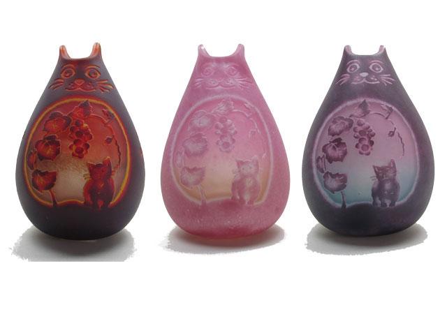 猫の手作りガラスランプ フロア(ルーム)ランプ ねこ こもれびガラス工房  猫グッズ 猫雑貨 猫 ねこ ネコ ガラス ランプ 