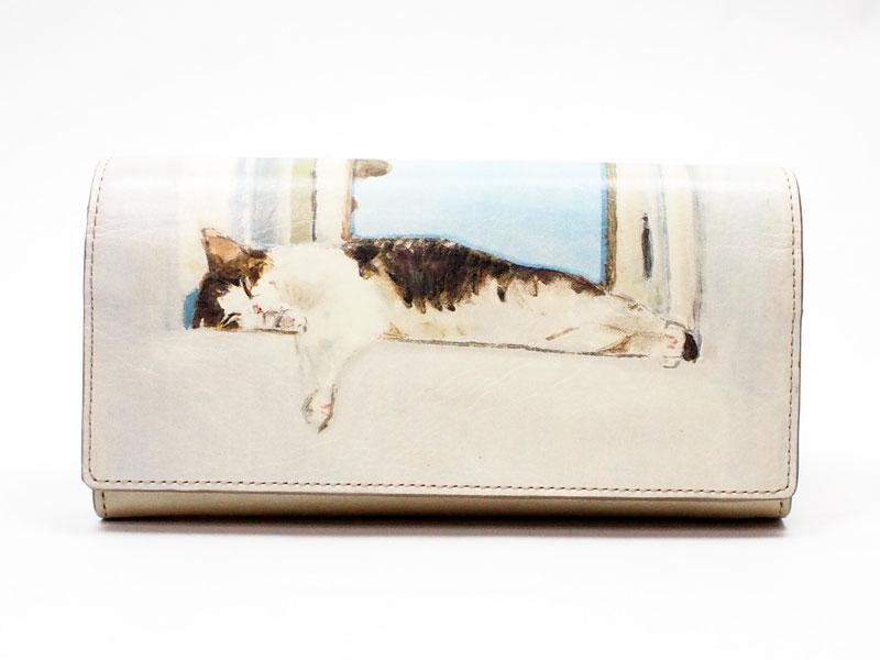 マンハッタナーズ牛皮かぶせタイプ長財布よい眠り(75-1015-CHP)|Manhattaner's マンハッタナーズ| 猫グッズ 猫雑貨 猫 ねこ ネコ|革 財布 サイフ|