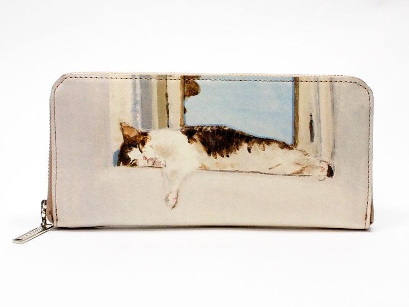 マンハッタナーズ牛皮ラウンドファスナー長財布よい眠り (75-1017-CHP)|Manhattaner's マンハッタナーズ| 猫 財布 財布 猫 ねこ ネコ|革 財布 サイフ|