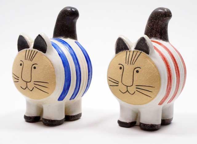 リサラーソン(Lisa Larson) dieci cat ディエチキャット レッドとブルー 猫グッズ 猫雑貨 猫 ねこ 置物  