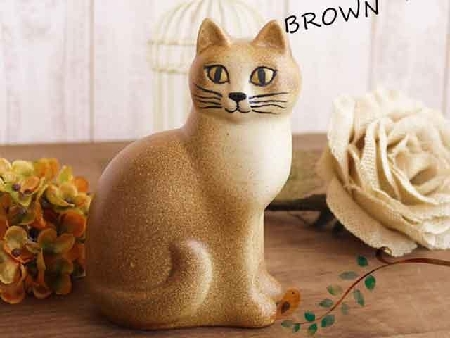 リサラーソン(Lisa Larson) Cat Mans medium (Brown)キャットマンズ ミディアム ブラウン |猫グッズ 猫雑貨 猫 ねこ 置物 |