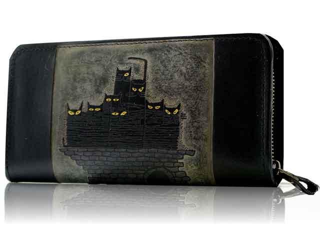 手染めロング財布 ネコ一族(黒) CATWALK OIKAWA 及川浩 猫グッズ 猫雑貨 猫 ねこ 財布 サイフ