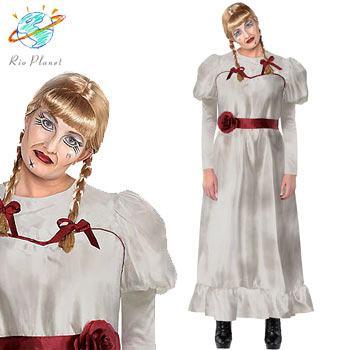 アナベル 死霊博物館 死霊館の人形 大人用 ドレス コスプレ 大きいサイズ セクシー ハロウィン 変装 Annabelle