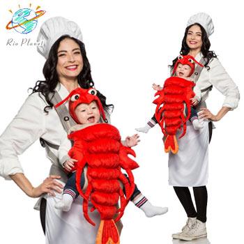 シェフ ロブスター おもしろ ベビー 赤ちゃん 仮装 コスプレ コスチューム 親子 衣装 MASTER CHEF & MAINE LOBSTER COSTUME