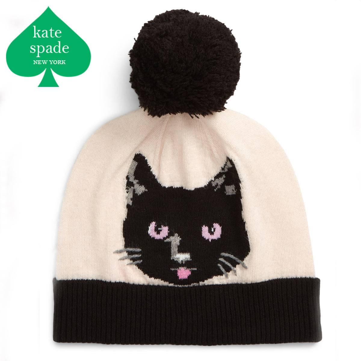 ケイトスペード ニット帽 ボンボン ブランド 猫 レディース ビーニー ニット ニット帽子 KATE SPADE NEW YORK