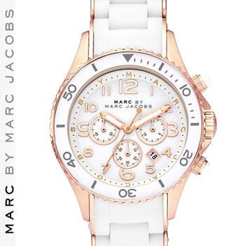 【正規品取扱店】 マーク バイ マーク ジェイコブス 腕時計 ロック クロノグラフ MARC BY MARC JACOBS 'Rock'ChronographSilicone カラー:ローズ・ホワイト